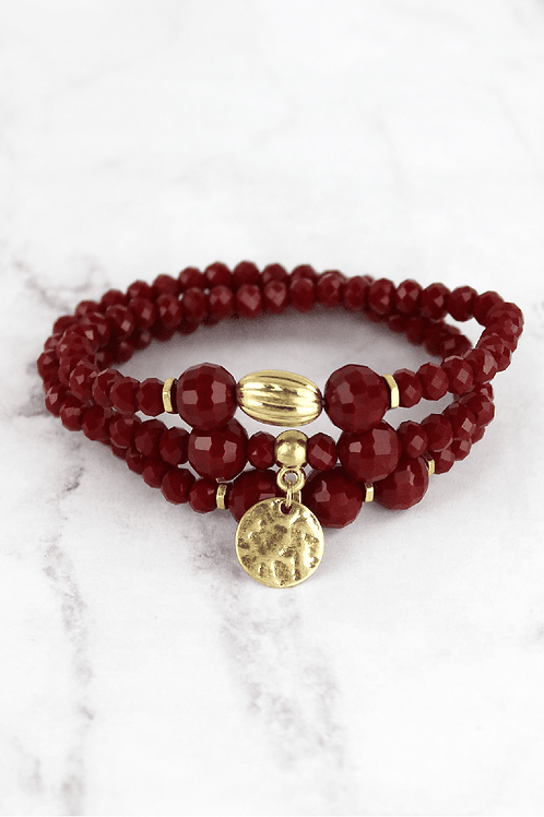 Crave Brand Crimson Beaded Bracelet Set