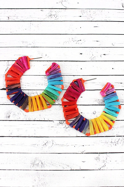 Multi-Color Raffia Wrapped Earrings