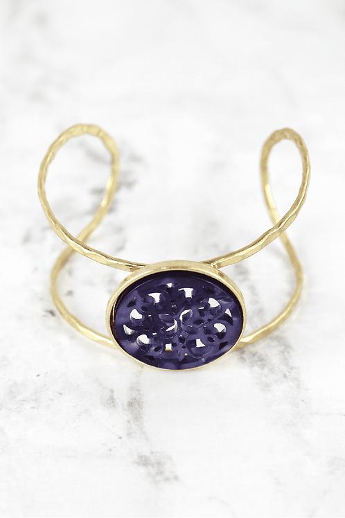 Crave Brand Goldtone with Purple Filigree Disc Cuff