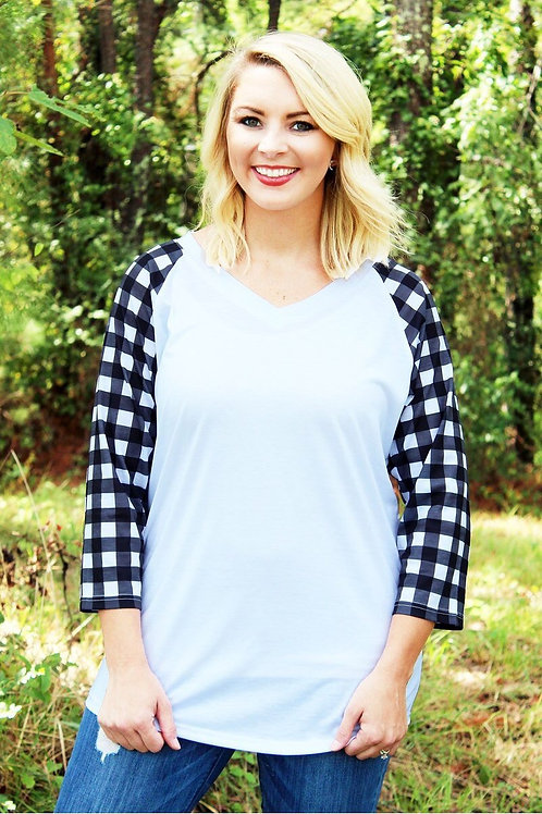 Black and White Buffalo Plaid Tri-blend Tee