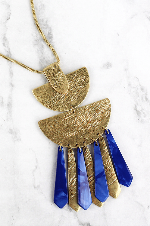 Crave Goldtone Filigree Blue Necklace