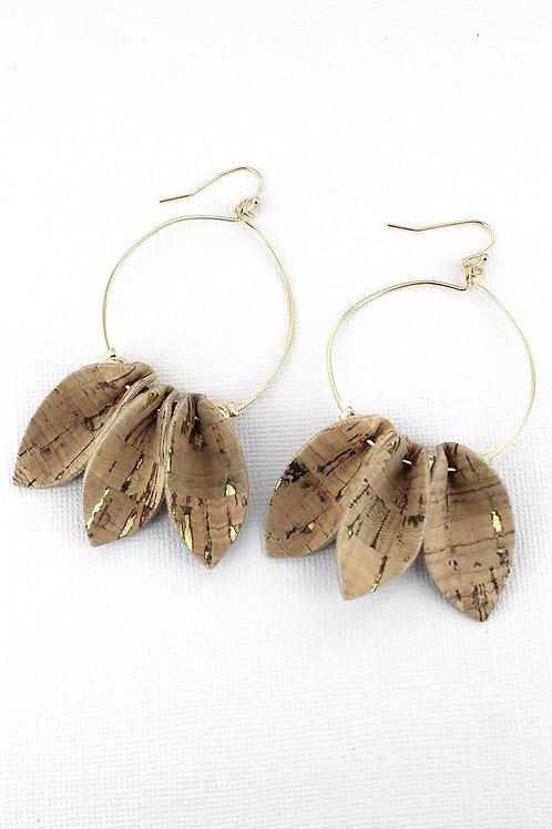 Natural Cork Petal Earrings
