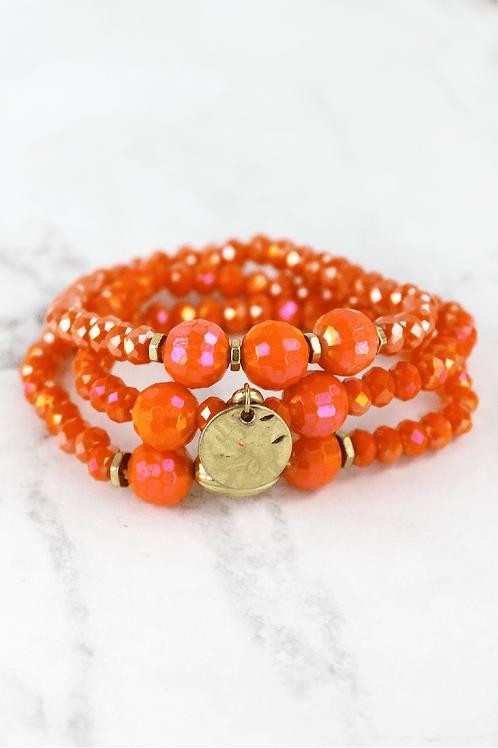 Crave Orange Beaded Gold Disc Bracelet Set