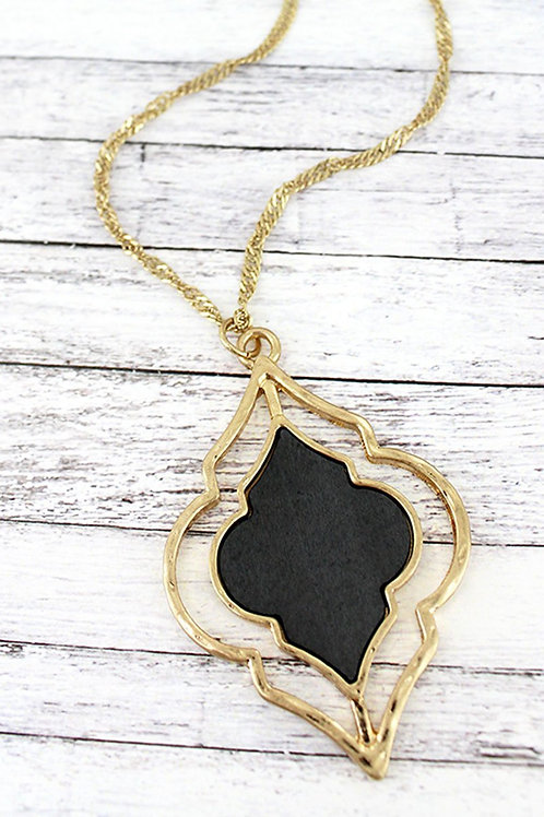 Crave Goldtone and Gray Wood Moroccan Necklace