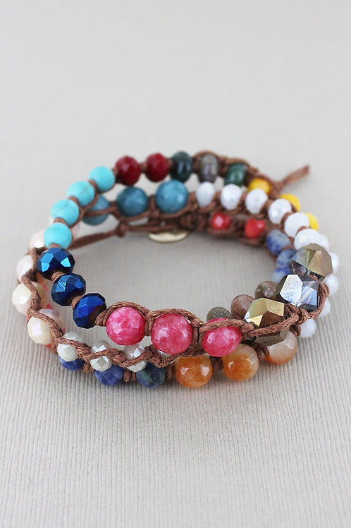 Multi-color faceted bead wrap bracelet