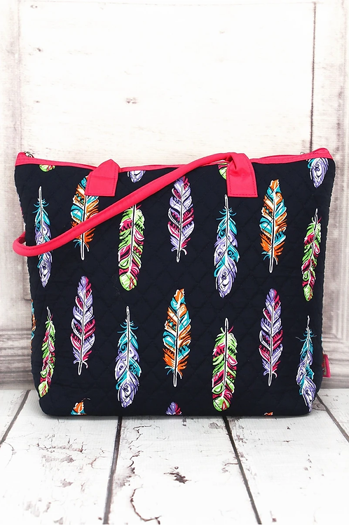 Feathers Quilted Shoulder Tote