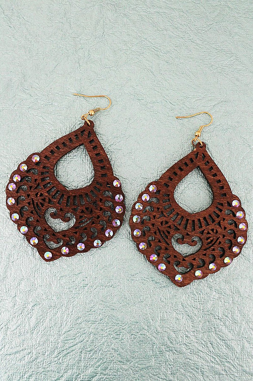 Wood Teardrop Earring with Crystal Accents
