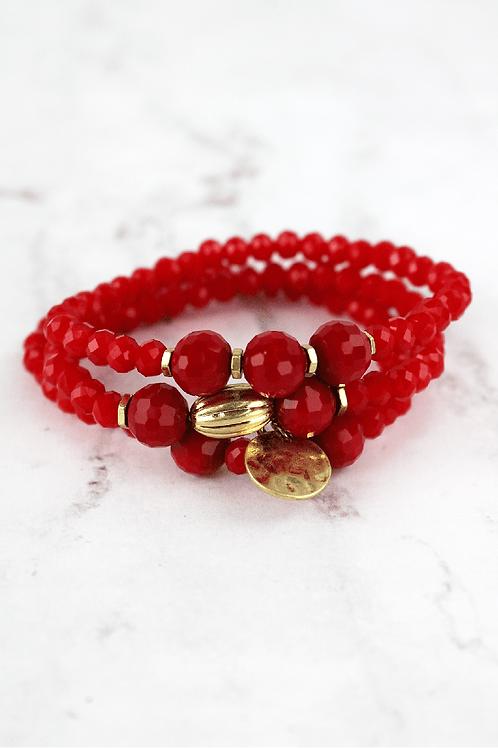 Crave Brand Red Beaded Bracelet Set