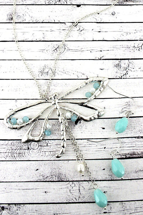 Whimsical Dragonfly Necklace Set
