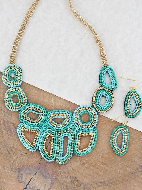 Mint & Gold Seed Bead Necklace Set