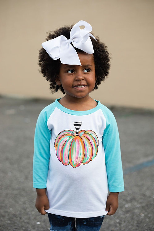 Kids Watercolor Pumpkin Raglan