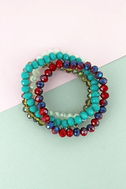 Stunning Faceted Bead Stretch Bracelet Set
