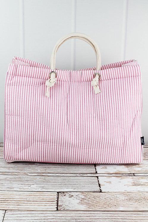 Navy or Pink Striped Shoulder Tote