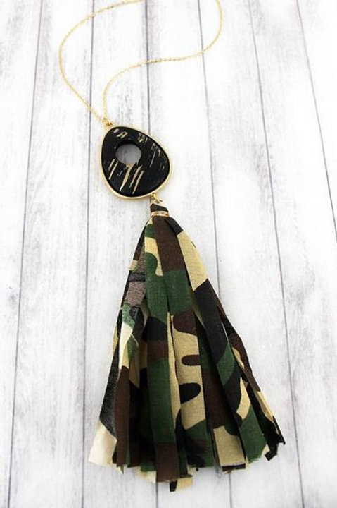Teardrop Fabric Tassel Pendant Necklace- 4 Styles