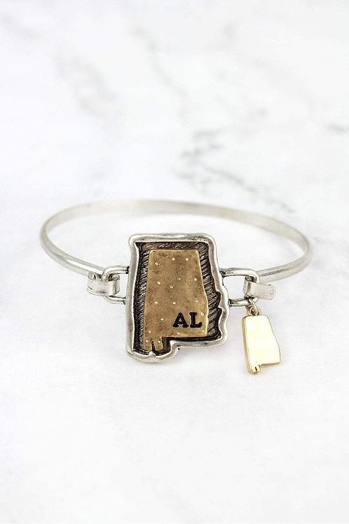 Hammered Two Tone Alabama Bracelet