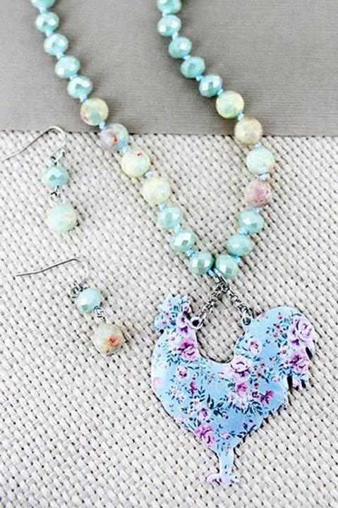 Rooster & Vintage Floral Beaded Necklace Set