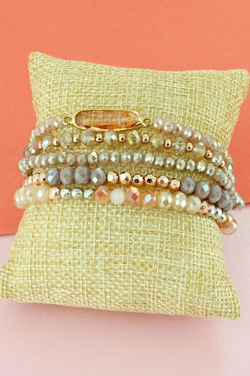 Champagne Oval Faceted Bracelet Set