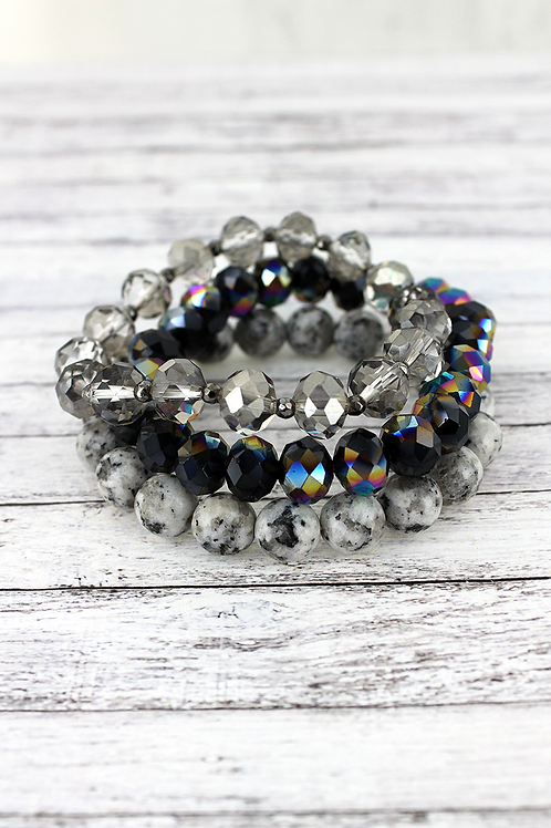 Faceted Bead and Stone Bracelet Sets