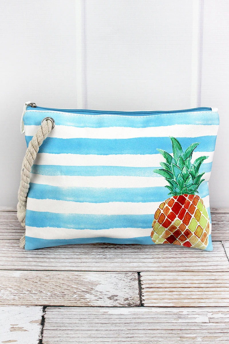Pineapple Blue Cabana Pouch