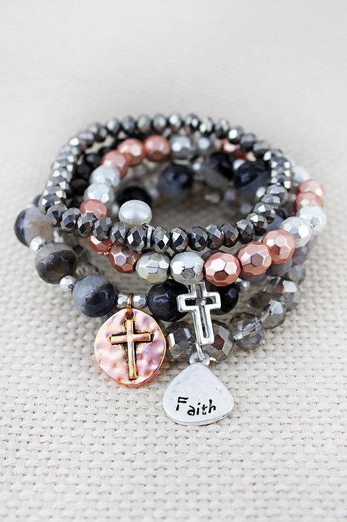 Faith Two-tone Bracelet Set