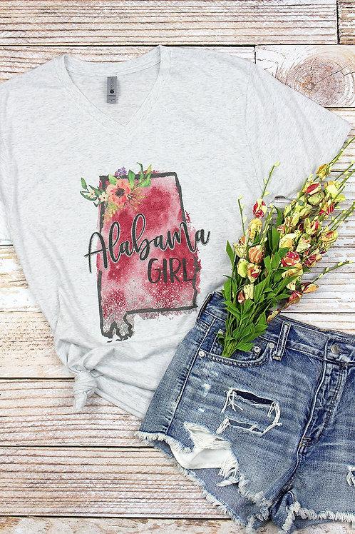Watercolor Alabama Girl Tee