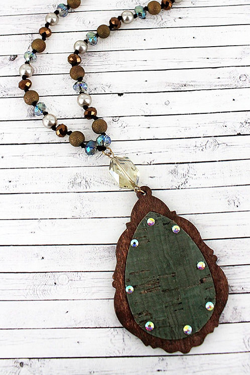 Green Cork and Wood Pendant Necklace