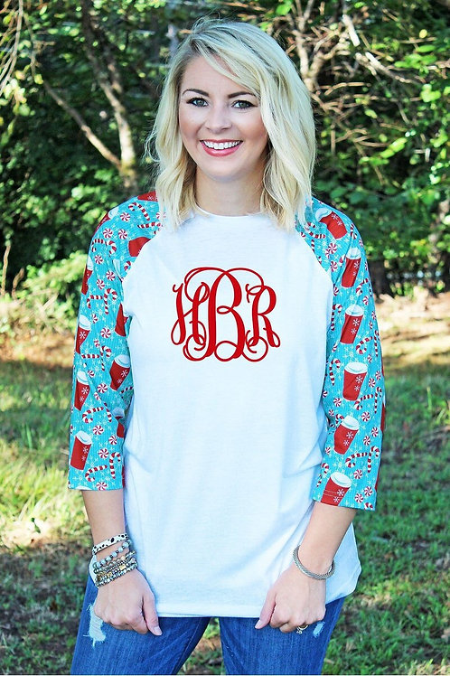Candy Cane Raglan Tri-blend Tee *Monogram not included