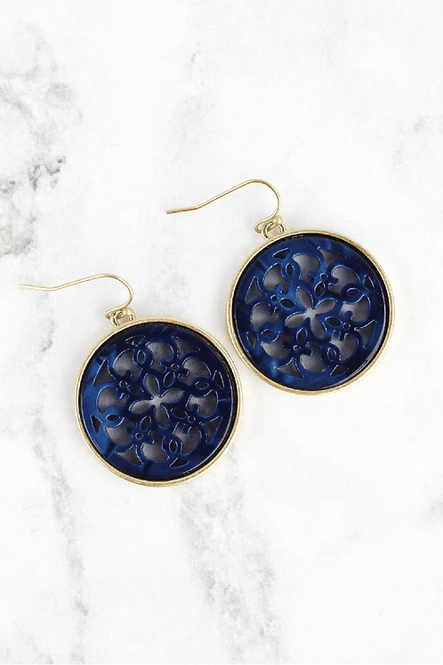 Crave Brand Navy Filigree Earrings
