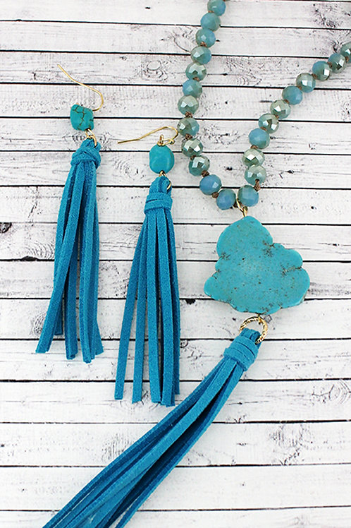 Turquoise Stone and Tassel Necklace  Set
