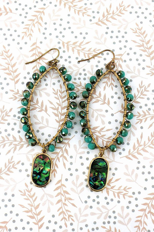 Glass Bead with Abalone Earrings