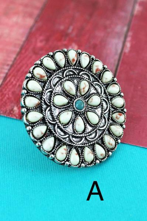 Burnished Medallion Concho Rings- 8 Color Choices