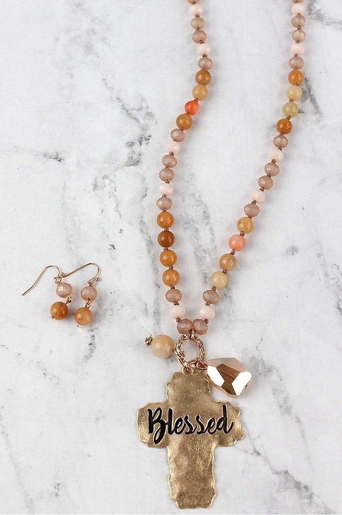 """Blessed"" & ""Amazing Grace"" Pendant Necklace Set"