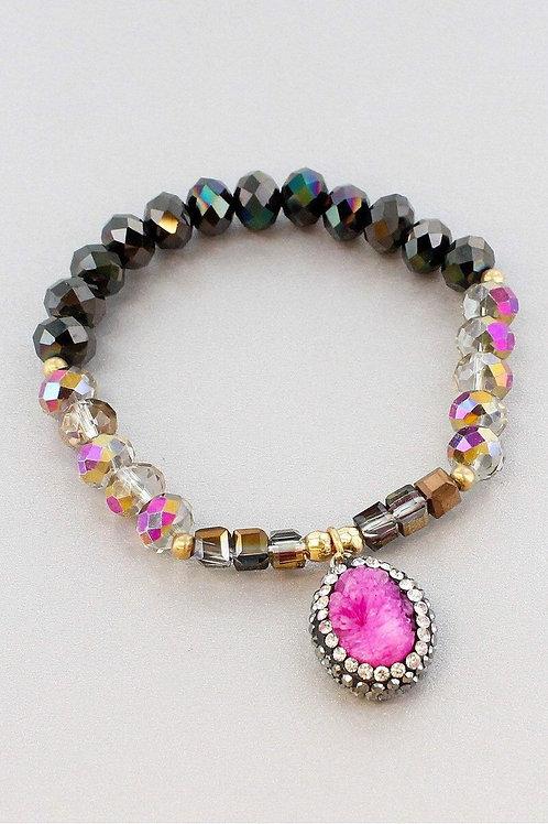 Pink Druzy Pendant Bracelet