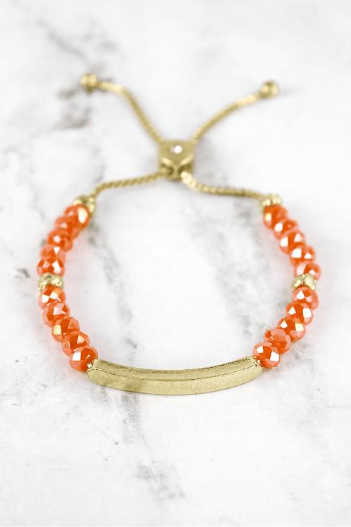 Crave Brand Orange Faceted Bead Bracelet
