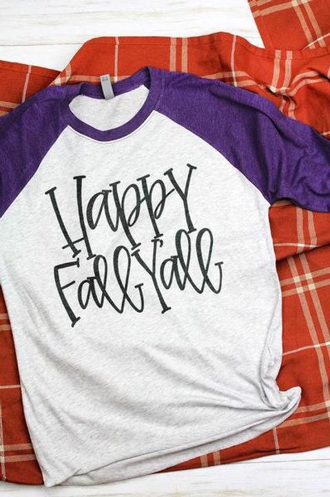 Happy Fall 3/4 Sleeve Raglan