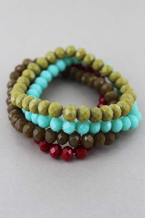 Earth Tones Faceted Bead Stretch Bracelets