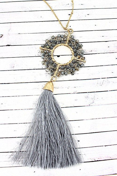 Crave Brand Gray Glass Bead Necklace