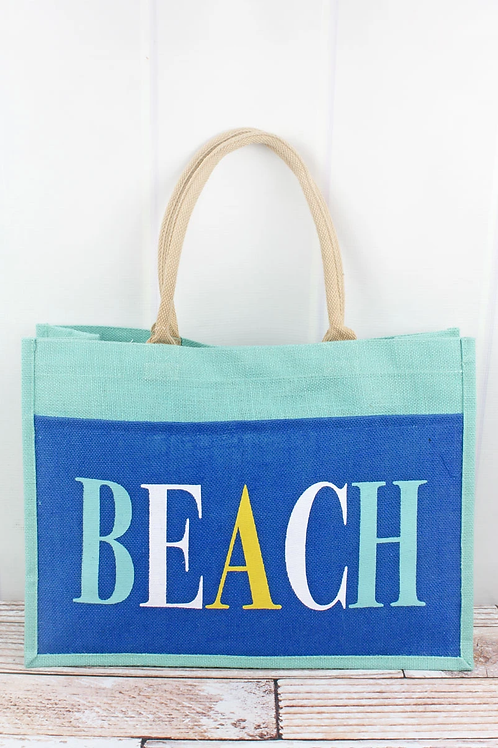 Beach Blue Jute Pocket Tote