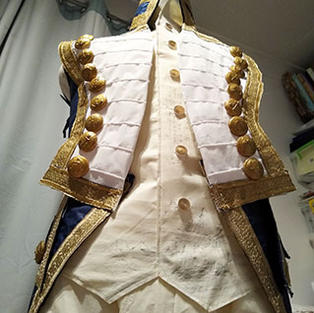 The large naval buttons have cardboard backs, mizuhiki chord loops for attaching...
