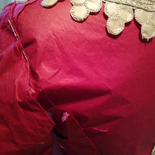 The different parts of the piece were sometimes sewn together on the mannequin.