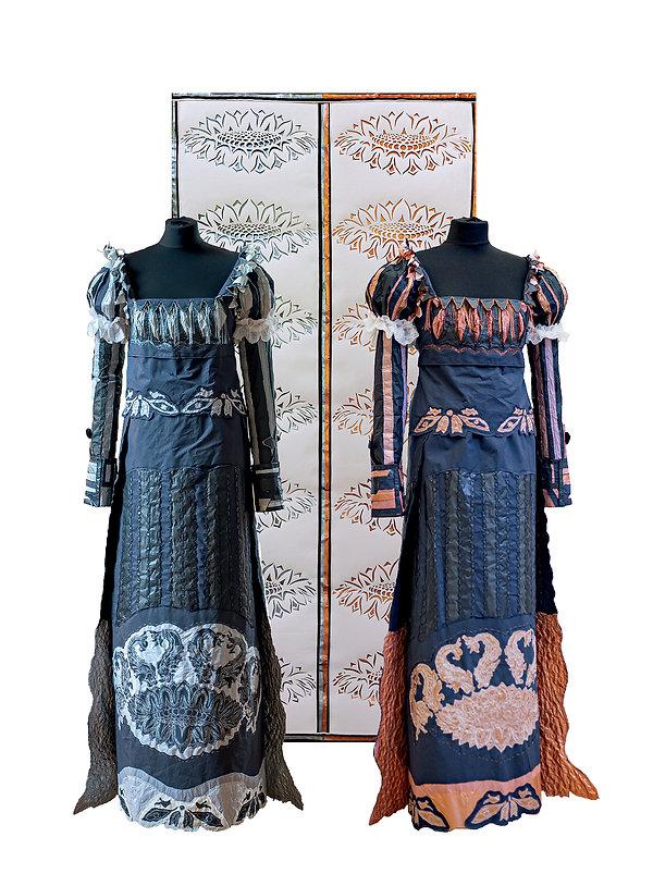 pair of mermaid dresses and lotus hanging