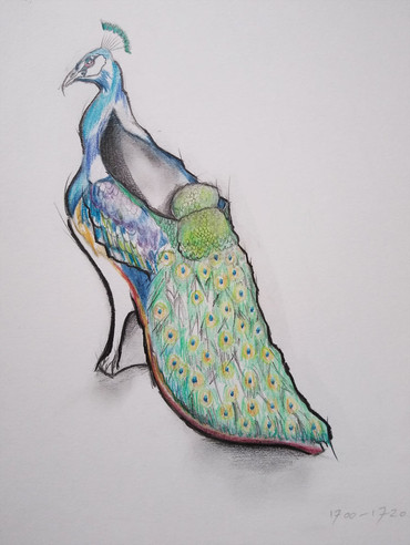 The 300 Years of Shoes collection - research & making - 1720 - The Green Peafowl