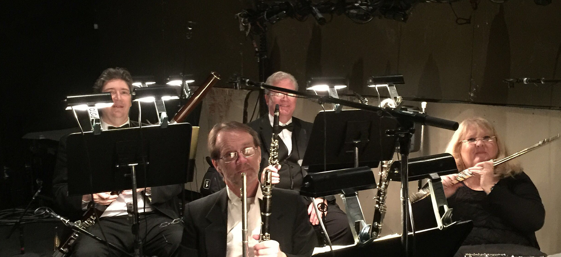 Diane at her other job playing the flute.  This is the pit orchestra for Phantom of the Opera