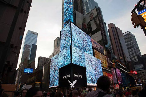 """""""Quantum Either"""" painting by Crystal A Edwards, on display in Time Square"""