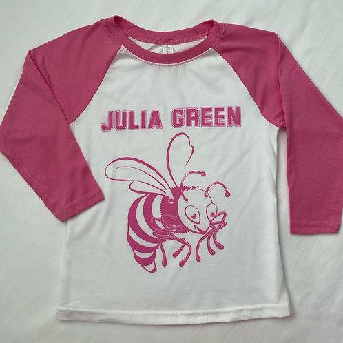 Pink 3/4 Sleeve Raglan Jersey T-Shirt
