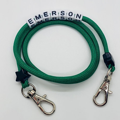 Personalized Green Paracord Mask Chain