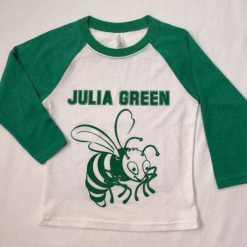 Green 3/4 Sleeve Raglan Jersey T-Shirt