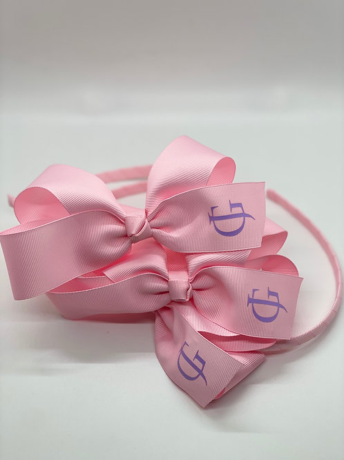 Light Pink Headband with Lilac JG Logo
