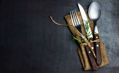 Rustic vintage set of cutlery knife, spo