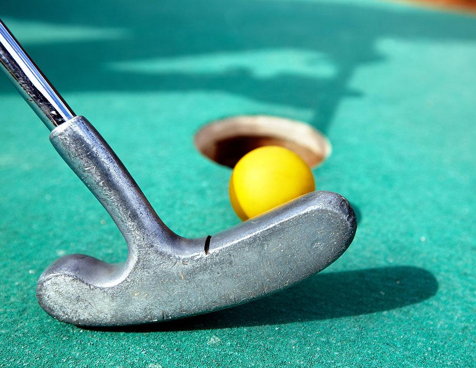 Golf stick and ball on green grass close